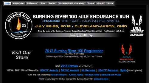 Burning River 100 Mile Endurance Run | Willoughby Hills Ohio | 2012 USATF 100 Mile National Championship
