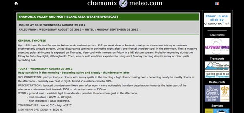 Chamonix meteo com Weather forecast Chamonix Mont Blanc Alps France
