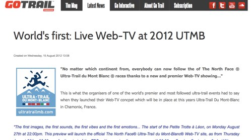 World s first Live Web TV at 2012 UTMB